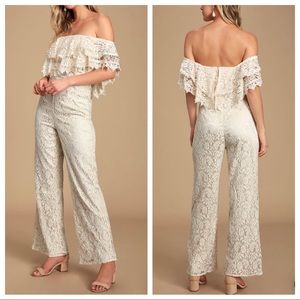 Lulu's Waiting For Forever Cream Lace Jumpsuit